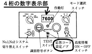 ATCトランスポンダ制御器-パネル説明