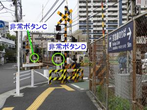 踏切平面写真「図7」で、「C、Dの位置」にある非常ボタン