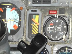 フライト・シミュレータ機長席の計器類
