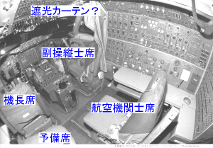 ボーイング747型、実機の操縦席写真