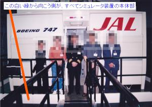 「シミュレータ装置本体」の出入り口前で、全員集合写真
