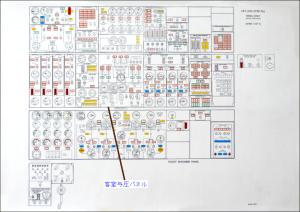 ボーイング747-200型機の乗員訓練用 「紙レーター」で、「航空機関士の計器盤(全体図)」